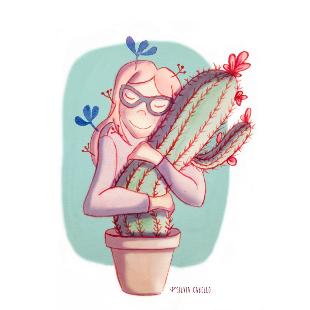 cactus love illustration girl
