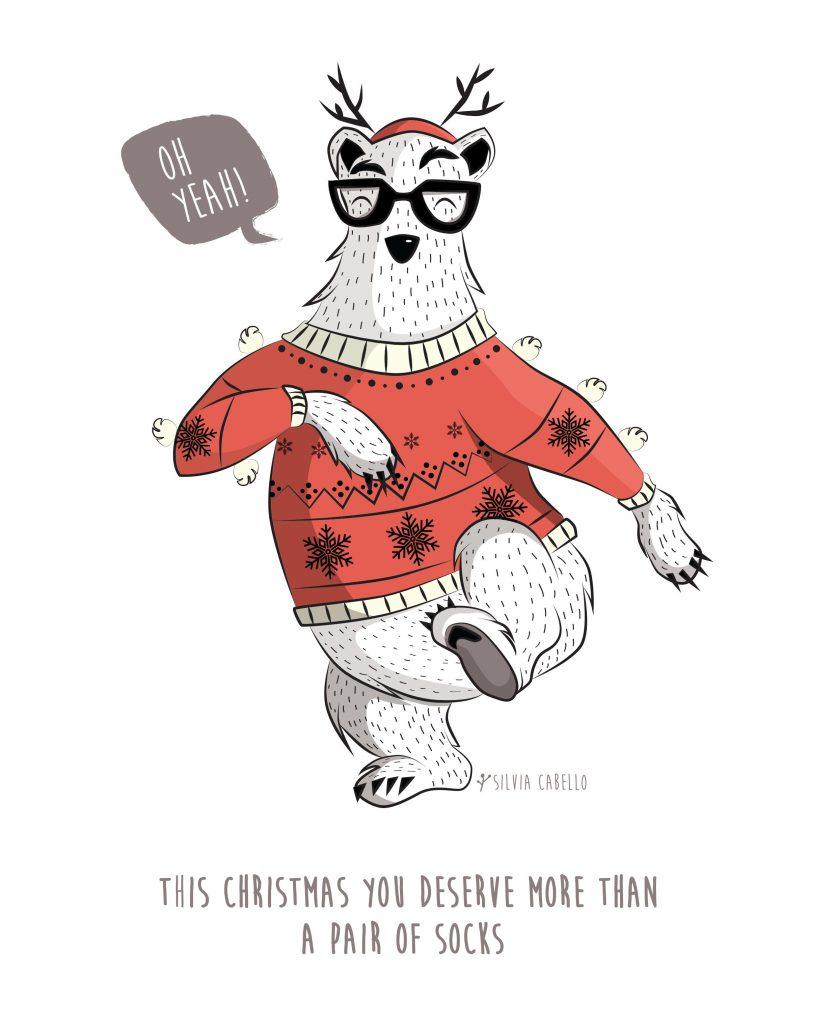 bear christmas character kids design illustration