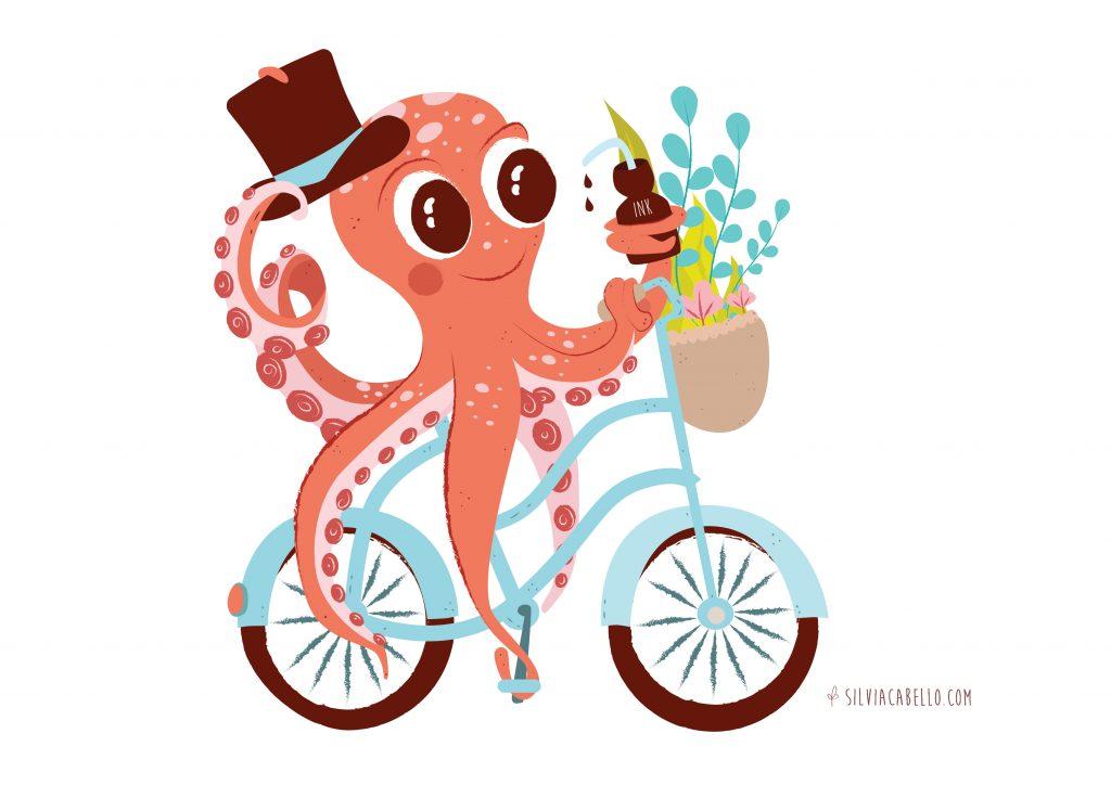 octopus character kids bike fantasy