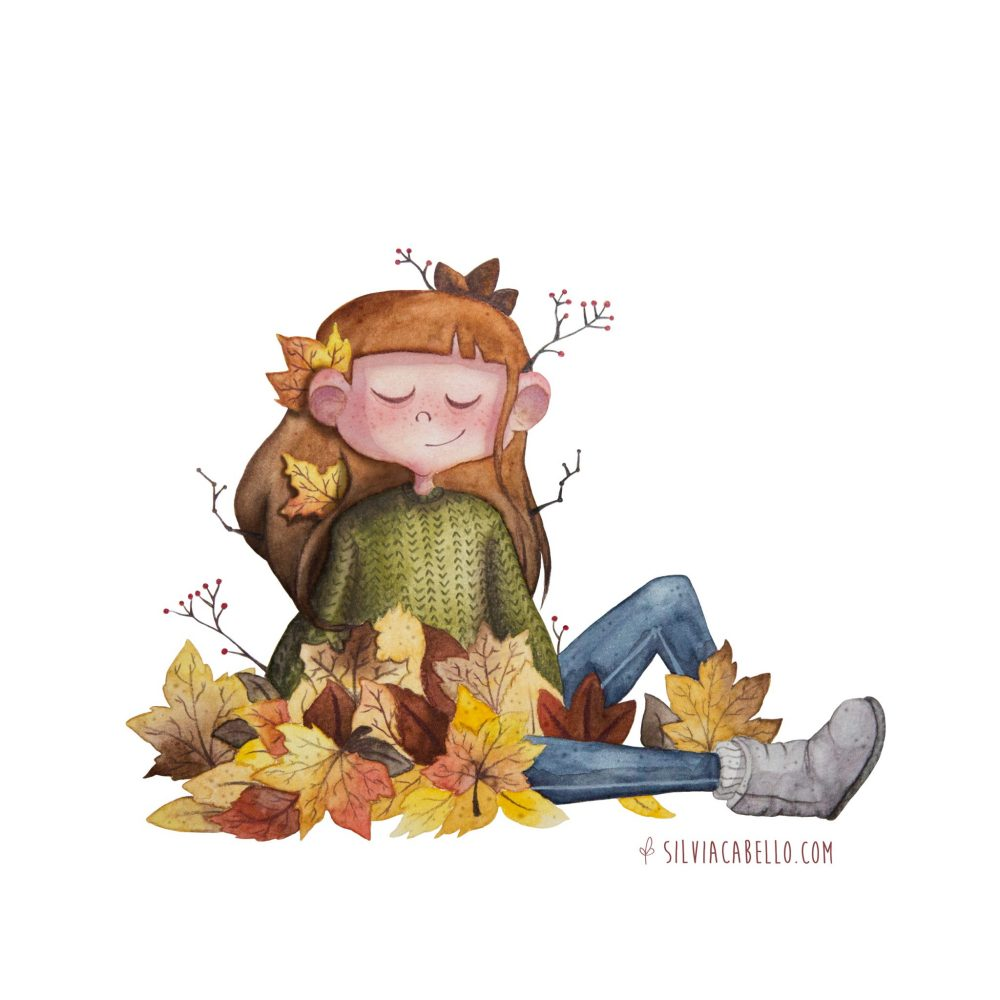 autumn illustration nature girl